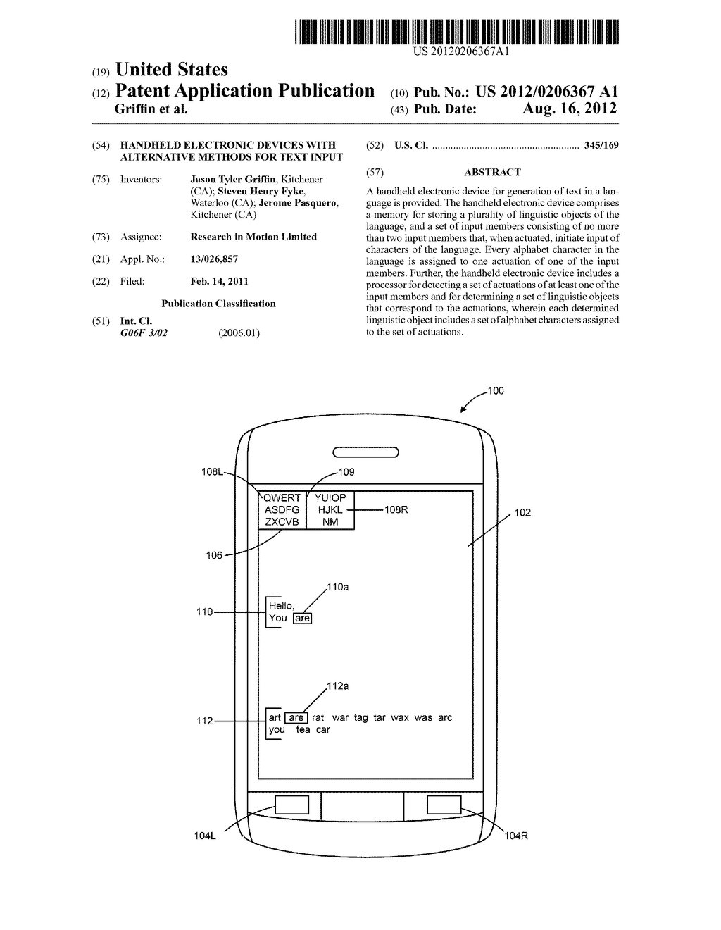 HANDHELD ELECTRONIC DEVICES WITH ALTERNATIVE METHODS FOR TEXT INPUT - diagram, schematic, and image 01