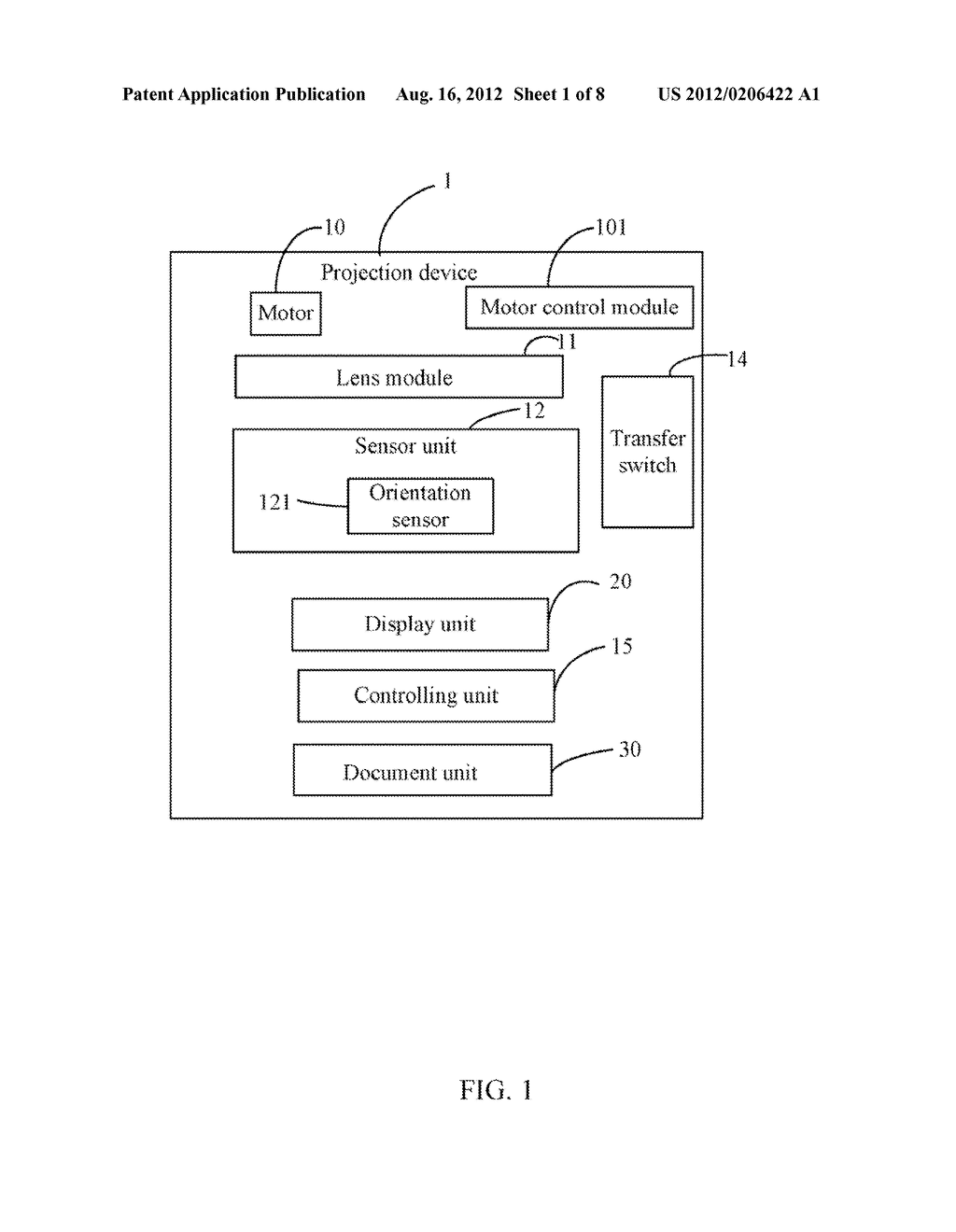 PROJECTION DEVICE WITH DISPLAY CONTROL FUNCTION AND METHOD THEREOF - diagram, schematic, and image 02