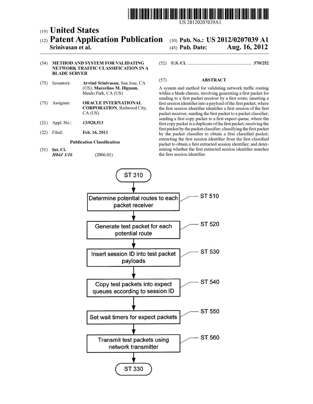 METHOD AND SYSTEM FOR VALIDATING NETWORK TRAFFIC CLASSIFICATION IN A BLADE     SERVER - diagram, schematic, and image 01