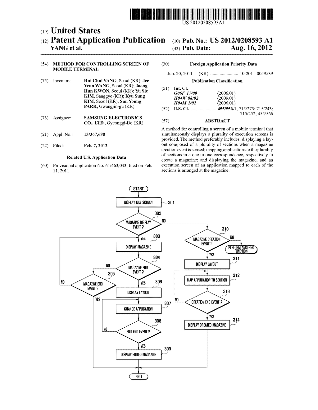 METHOD FOR CONTROLLING SCREEN OF MOBILE TERMINAL - diagram, schematic, and image 01