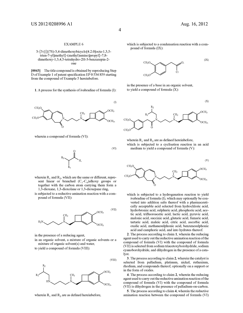 PROCESS FOR THE SYNTHESIS OF IVABRADINE AND ADDITION SALTS THEREOF WITH A     PHARMACEUTICALLY ACCEPTABLE ACID - diagram, schematic, and image 05