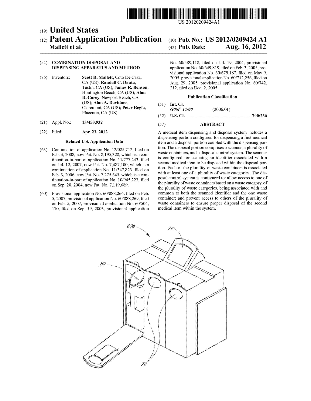 COMBINATION DISPOSAL AND DISPENSING APPARATUS AND METHOD - diagram, schematic, and image 01
