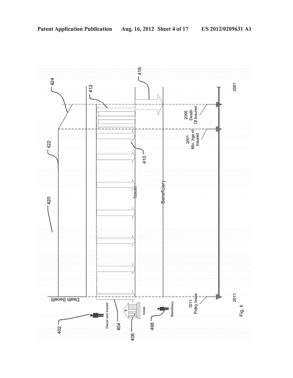 SYSTEM AND METHOD FOR PROCESSING DATA RELATED TO A LIFE INSURANCE POLICY     HAVING A DEATH BENEFIT PAYABLE BASED ON AGE OF A LIVING INSURED - diagram, schematic, and image 05