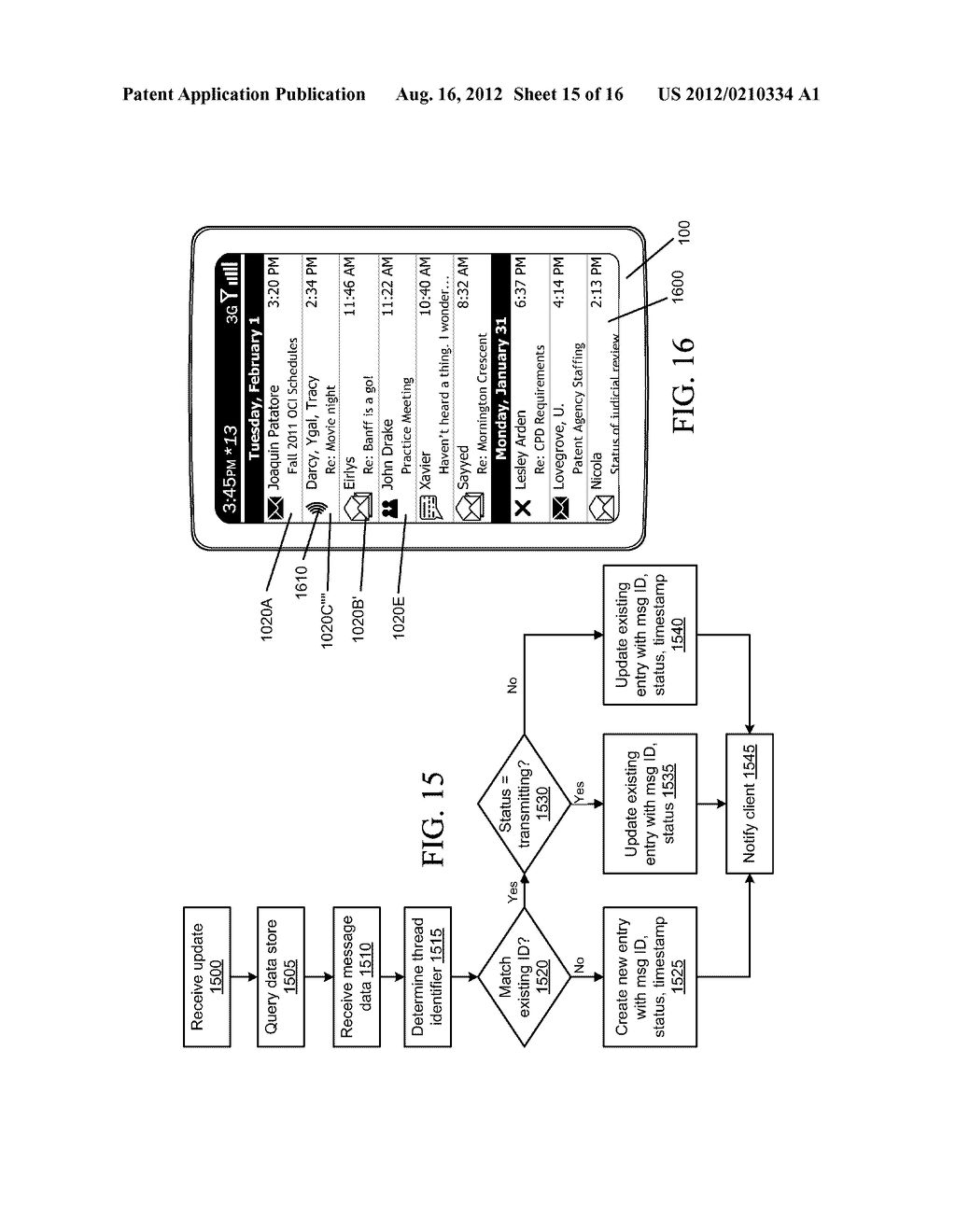 COMMUNICATION DEVICE AND METHOD FOR COHERENT UPDATING OF COLLATED MESSAGE     LISTINGS - diagram, schematic, and image 16