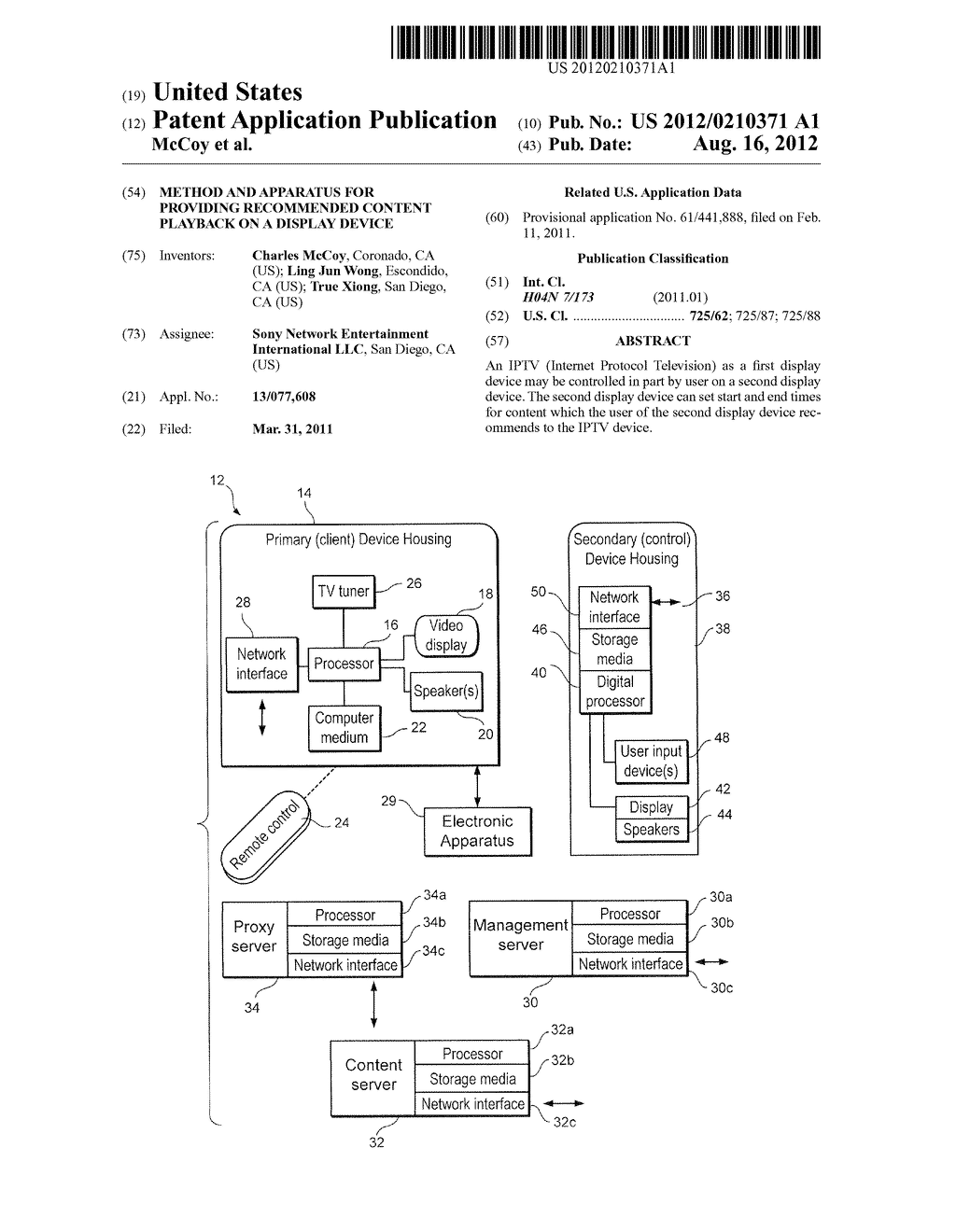 METHOD AND APPARATUS FOR PROVIDING RECOMMENDED CONTENT PLAYBACK ON A     DISPLAY DEVICE - diagram, schematic, and image 01