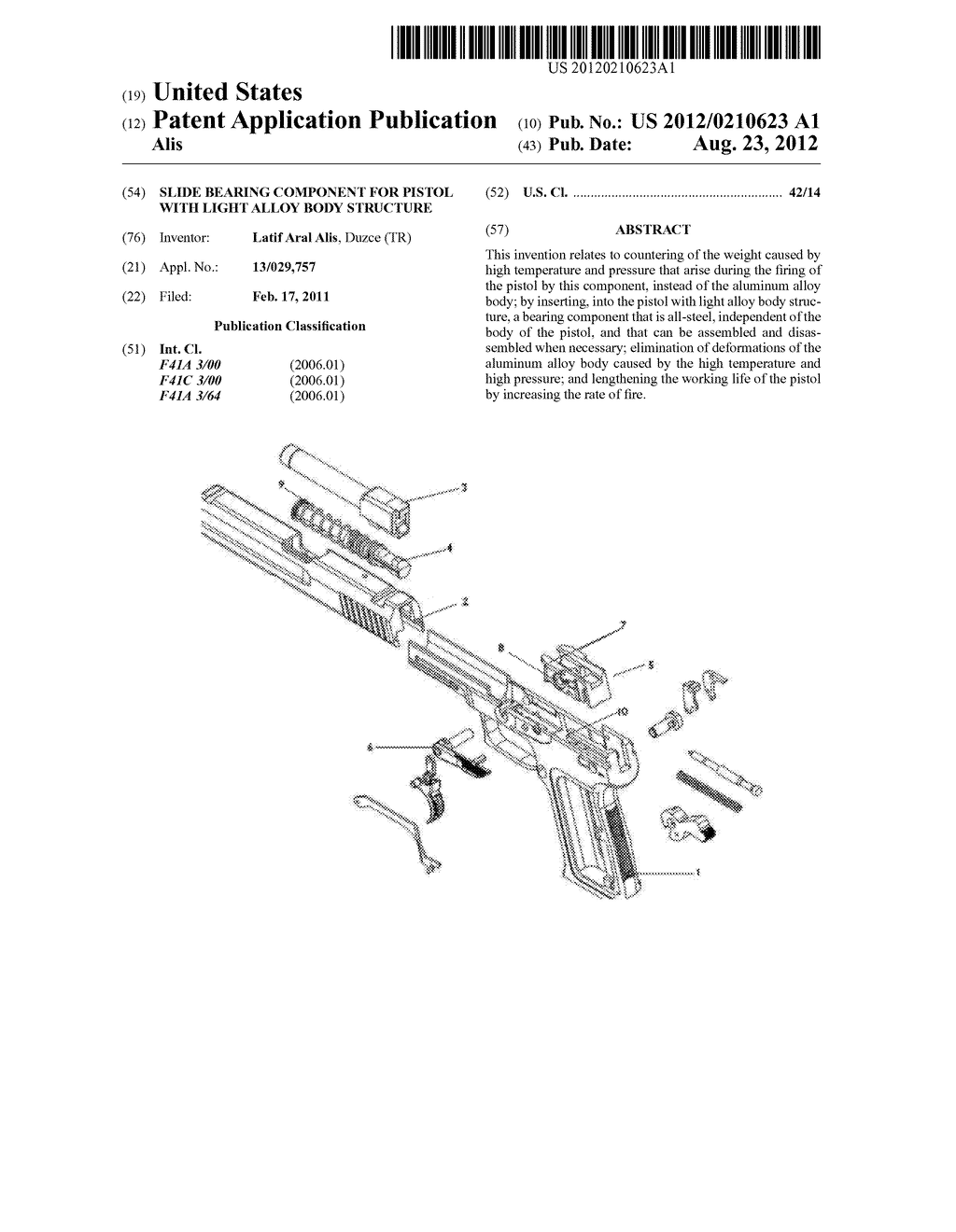 Slide Bearing Component for Pistol with Light Alloy Body