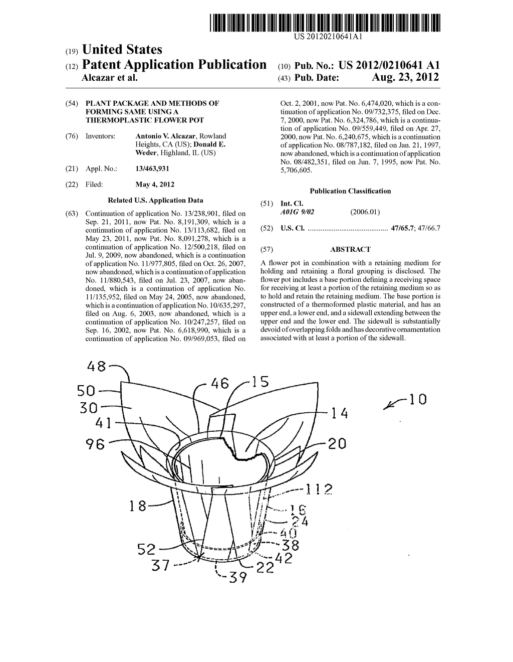 PLANT PACKAGE AND METHODS OF FORMING SAME USING A THERMOPLASTIC FLOWER POT - diagram, schematic, and image 01
