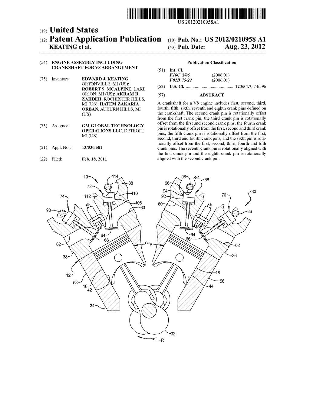 ENGINE ASSEMBLY INCLUDING CRANKSHAFT FOR V8 ARRANGEMENT - diagram, schematic,  and image 01
