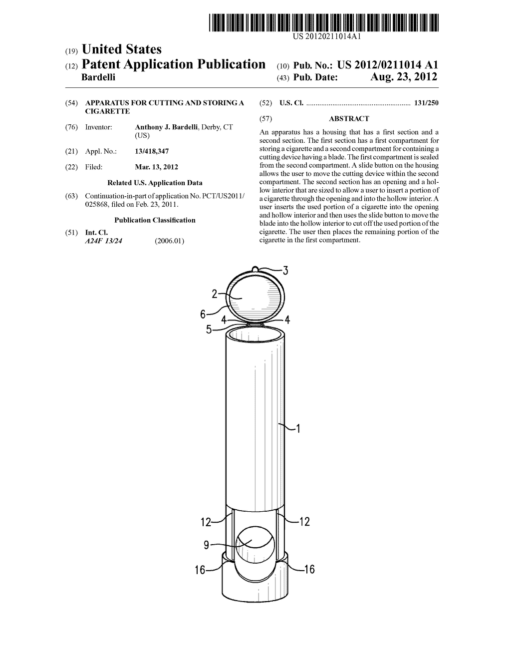Apparatus For Cutting And Storing A Cigarette - diagram, schematic, and image 01