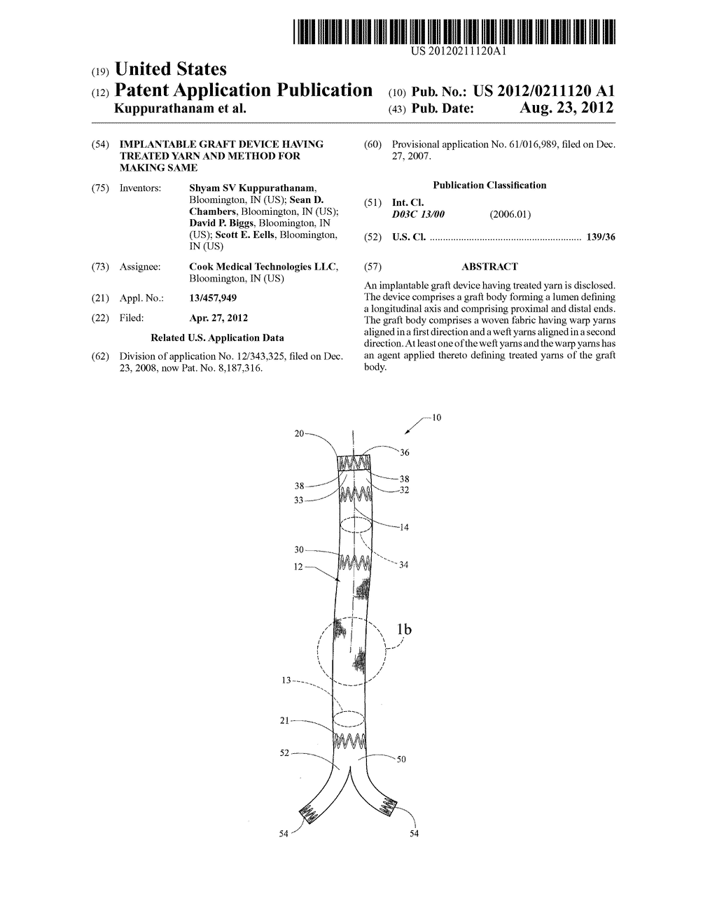 IMPLANTABLE GRAFT DEVICE HAVING TREATED YARN AND METHOD FOR MAKING SAME - diagram, schematic, and image 01