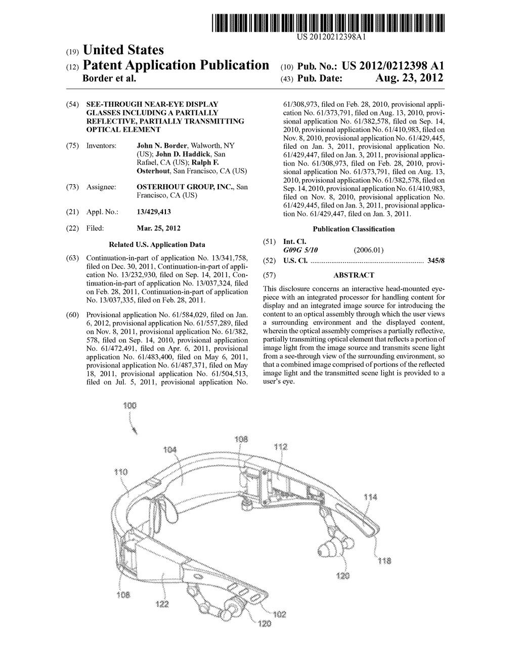 SEE-THROUGH NEAR-EYE DISPLAY GLASSES INCLUDING A PARTIALLY REFLECTIVE,     PARTIALLY TRANSMITTING OPTICAL ELEMENT - diagram, schematic, and image 01