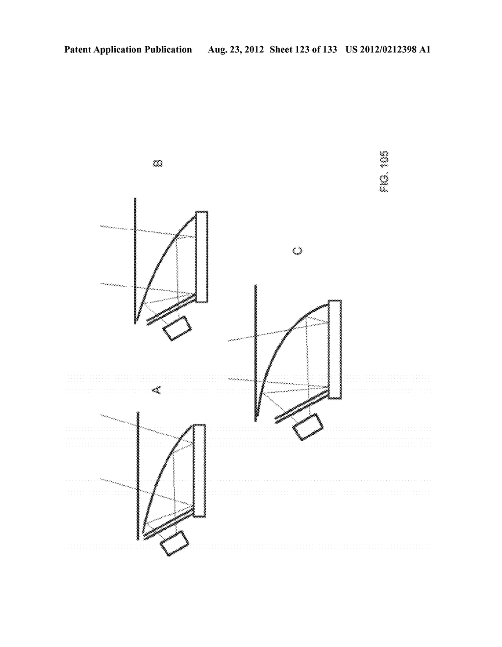 SEE-THROUGH NEAR-EYE DISPLAY GLASSES INCLUDING A PARTIALLY REFLECTIVE,     PARTIALLY TRANSMITTING OPTICAL ELEMENT - diagram, schematic, and image 124
