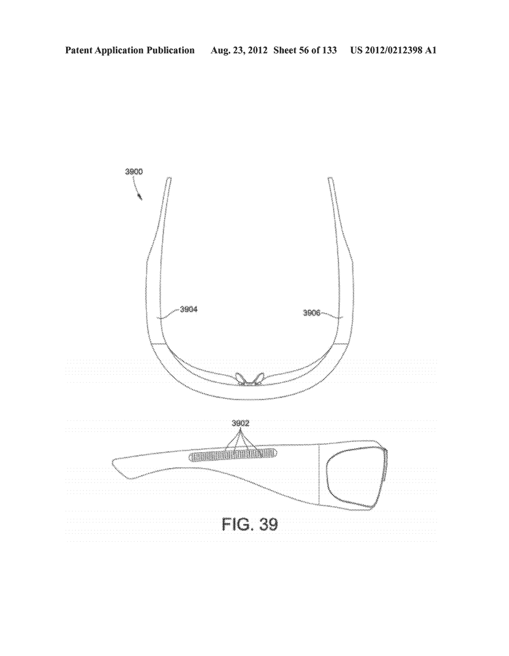 SEE-THROUGH NEAR-EYE DISPLAY GLASSES INCLUDING A PARTIALLY REFLECTIVE,     PARTIALLY TRANSMITTING OPTICAL ELEMENT - diagram, schematic, and image 57