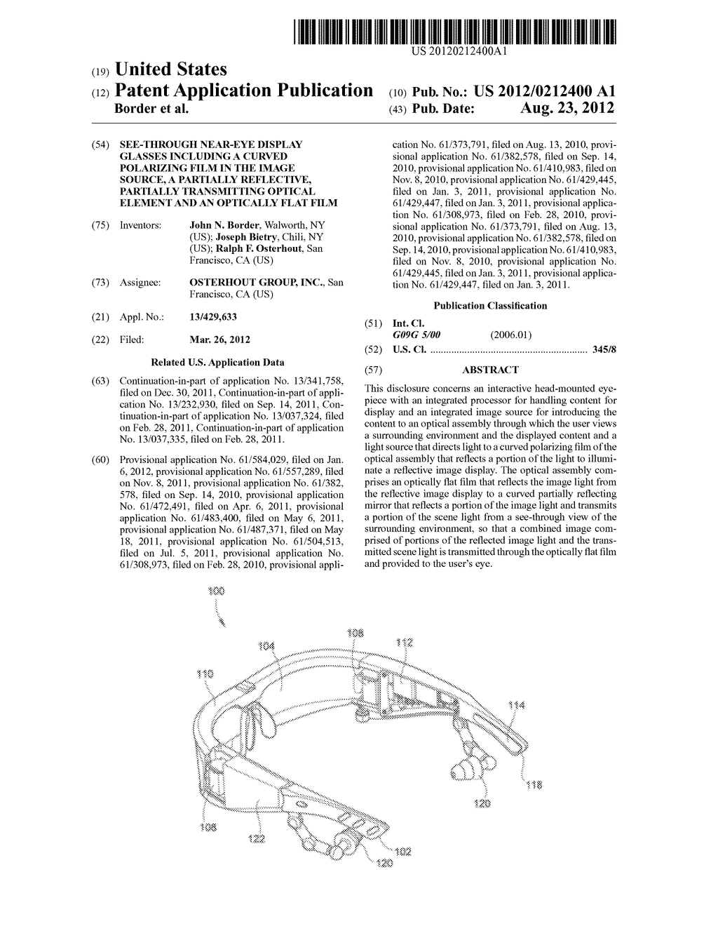 SEE-THROUGH NEAR-EYE DISPLAY GLASSES INCLUDING A CURVED POLARIZING FILM IN     THE IMAGE SOURCE, A PARTIALLY REFLECTIVE, PARTIALLY TRANSMITTING OPTICAL     ELEMENT AND AN OPTICALLY FLAT FILM - diagram, schematic, and image 01