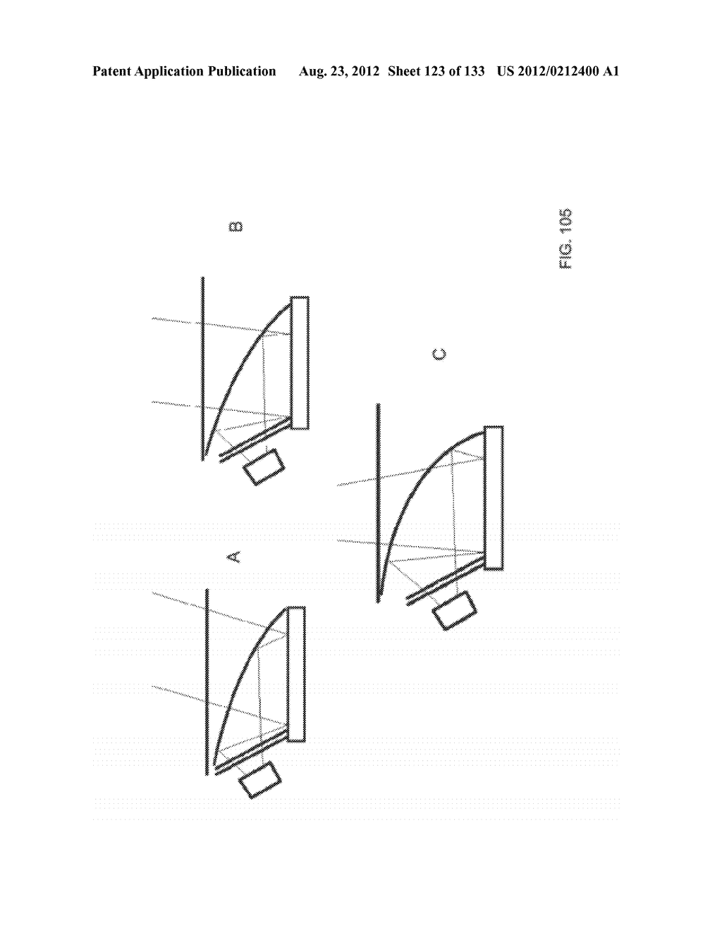 SEE-THROUGH NEAR-EYE DISPLAY GLASSES INCLUDING A CURVED POLARIZING FILM IN     THE IMAGE SOURCE, A PARTIALLY REFLECTIVE, PARTIALLY TRANSMITTING OPTICAL     ELEMENT AND AN OPTICALLY FLAT FILM - diagram, schematic, and image 124