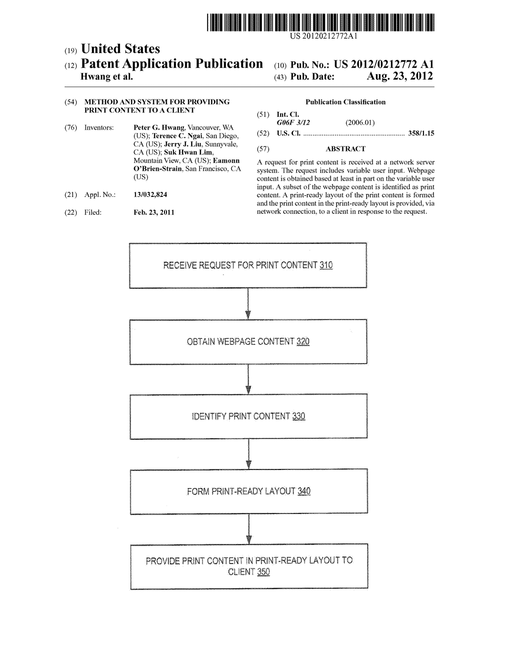 METHOD AND SYSTEM FOR PROVIDING PRINT CONTENT TO A CLIENT - diagram, schematic, and image 01