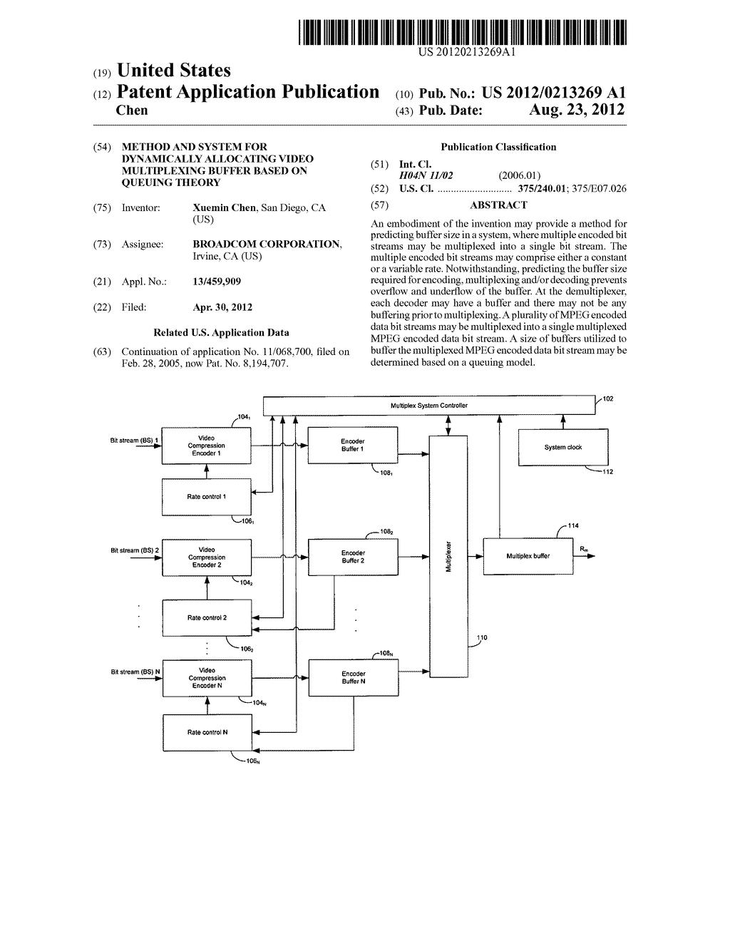 METHOD AND SYSTEM FOR DYNAMICALLY ALLOCATING VIDEO MULTIPLEXING BUFFER     BASED ON QUEUING THEORY - diagram, schematic, and image 01