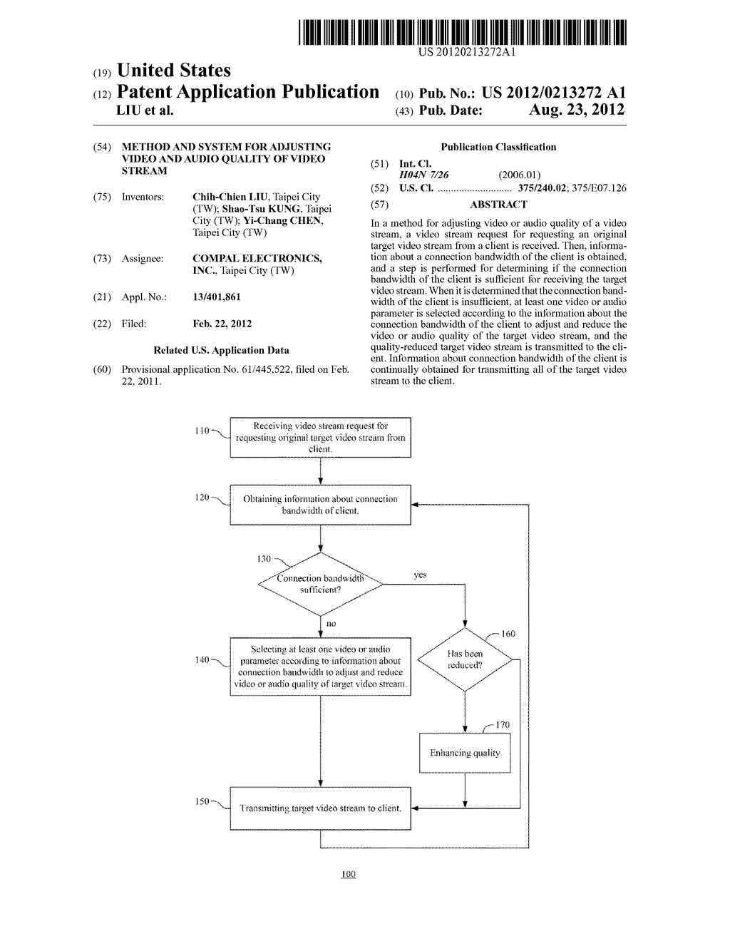 METHOD AND SYSTEM FOR ADJUSTING VIDEO AND AUDIO QUALITY OF VIDEO STREAM - diagram, schematic, and image 01