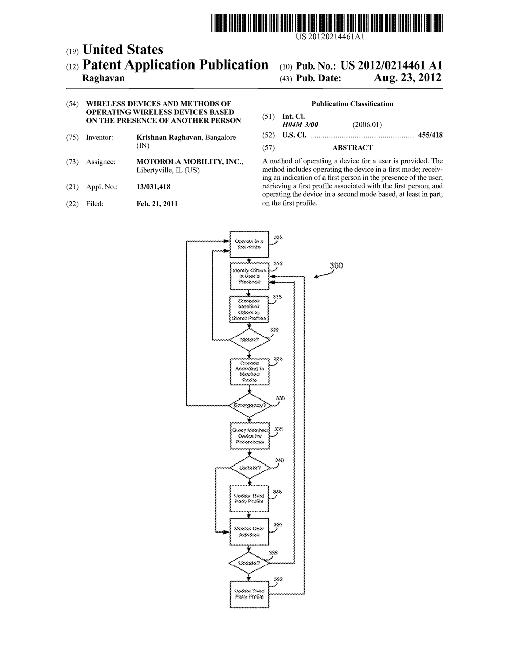 WIRELESS DEVICES AND METHODS OF OPERATING WIRELESS DEVICES BASED ON THE     PRESENCE OF ANOTHER PERSON - diagram, schematic, and image 01