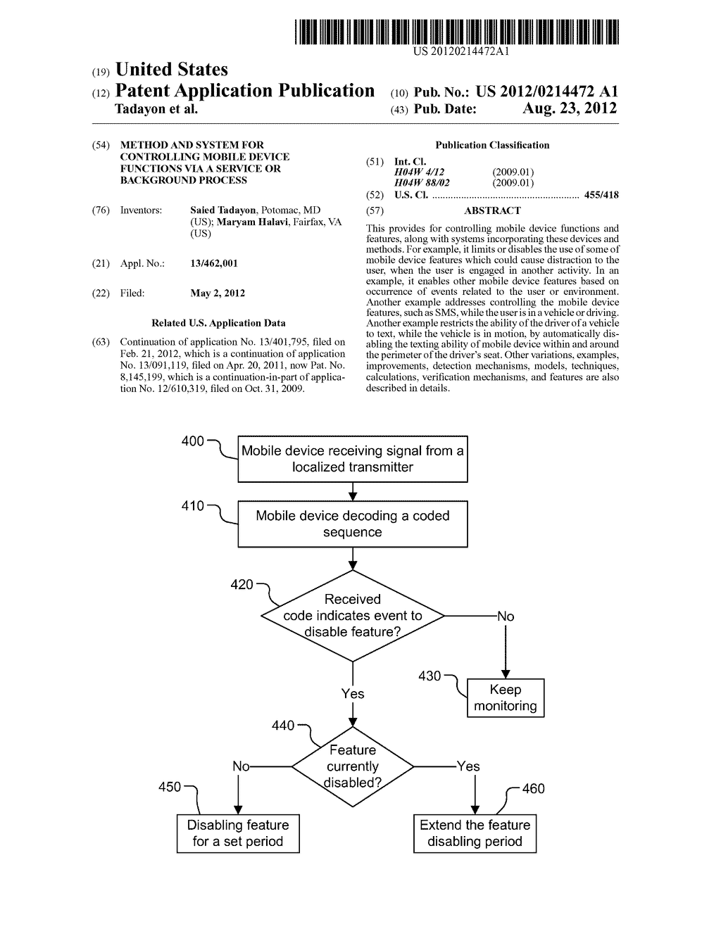 Method and System for Controlling Mobile Device Functions via a Service or     Background Process - diagram, schematic, and image 01