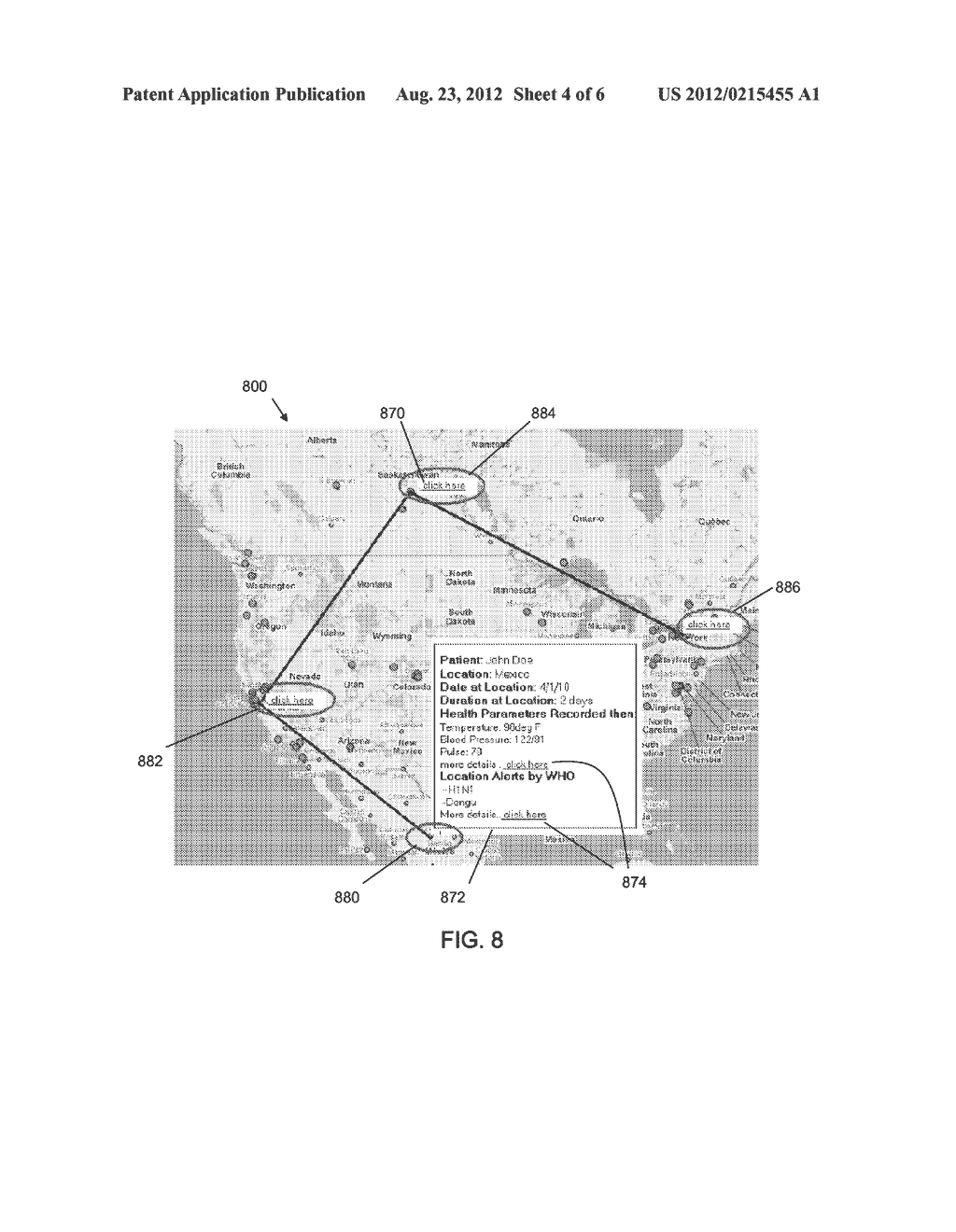 System and Method for Medical Diagnosis Using Geospatial Location Data     Integrated with Biomedical Sensor Information - diagram, schematic, and image 05