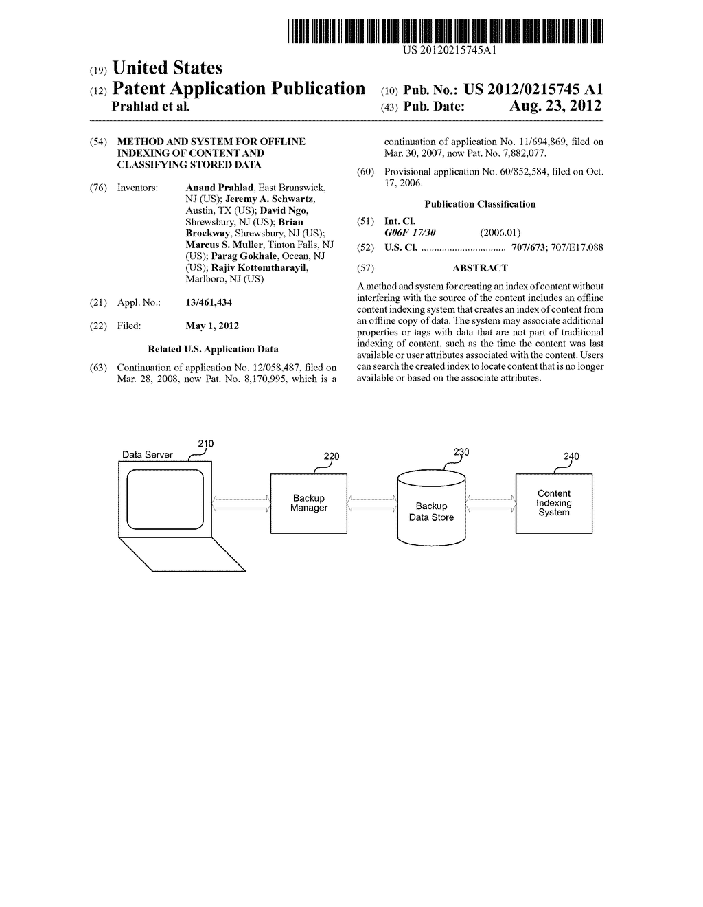 METHOD AND SYSTEM FOR OFFLINE INDEXING OF CONTENT AND CLASSIFYING STORED     DATA - diagram, schematic, and image 01