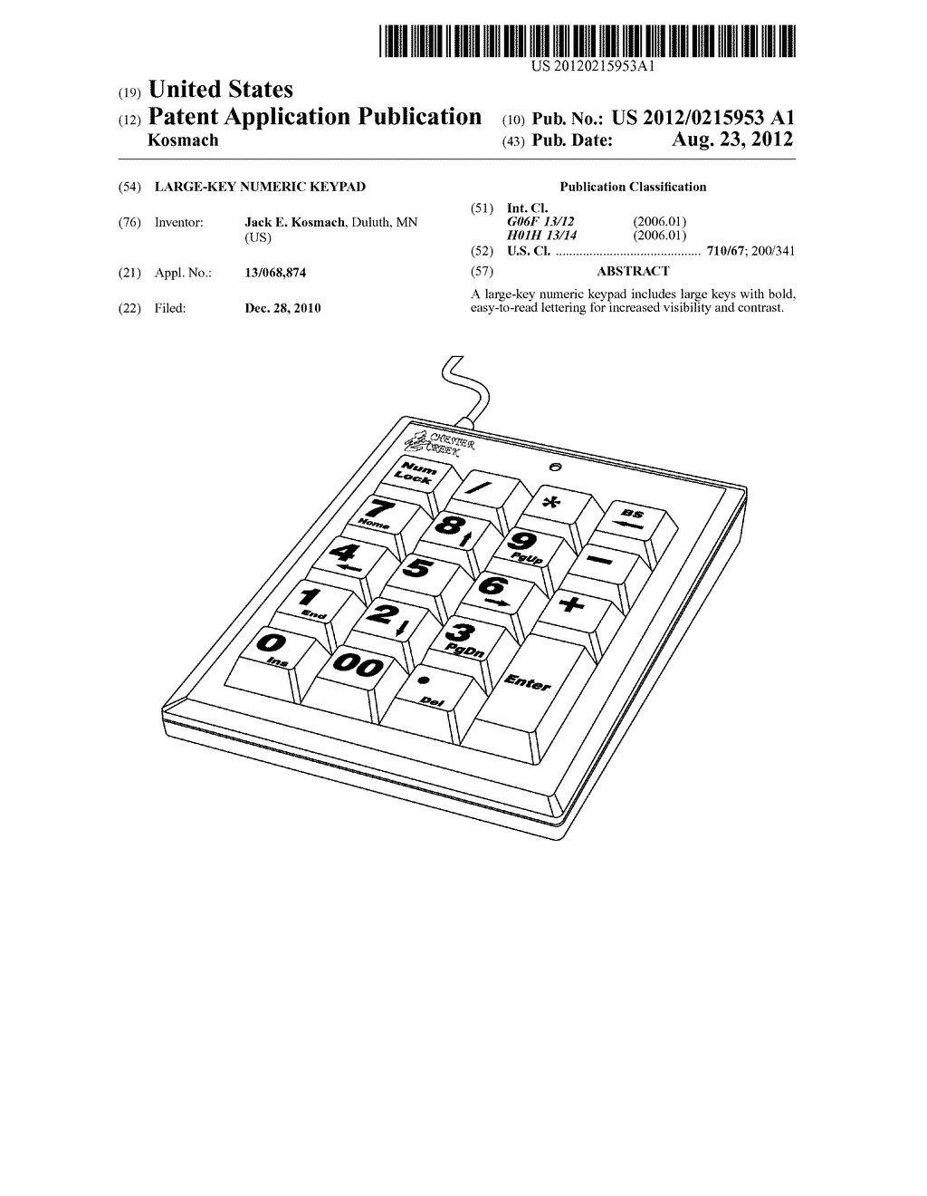 LARGE-KEY NUMERIC KEYPAD - diagram, schematic, and image 01