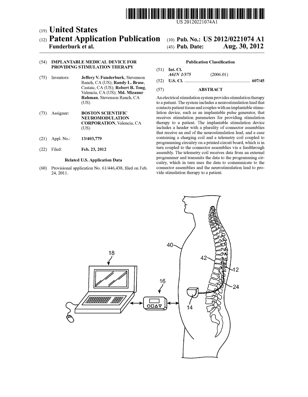 IMPLANTABLE MEDICAL DEVICE FOR PROVIDING STIMULATION THERAPY - diagram, schematic, and image 01