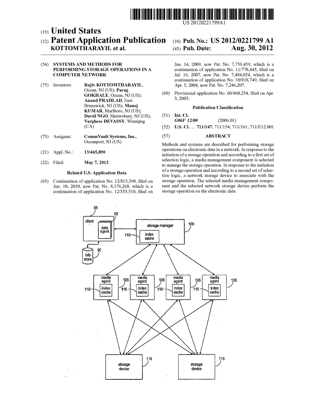 SYSTEMS AND METHODS FOR PERFORMING STORAGE OPERATIONS IN A COMPUTER     NETWORK - diagram, schematic, and image 01