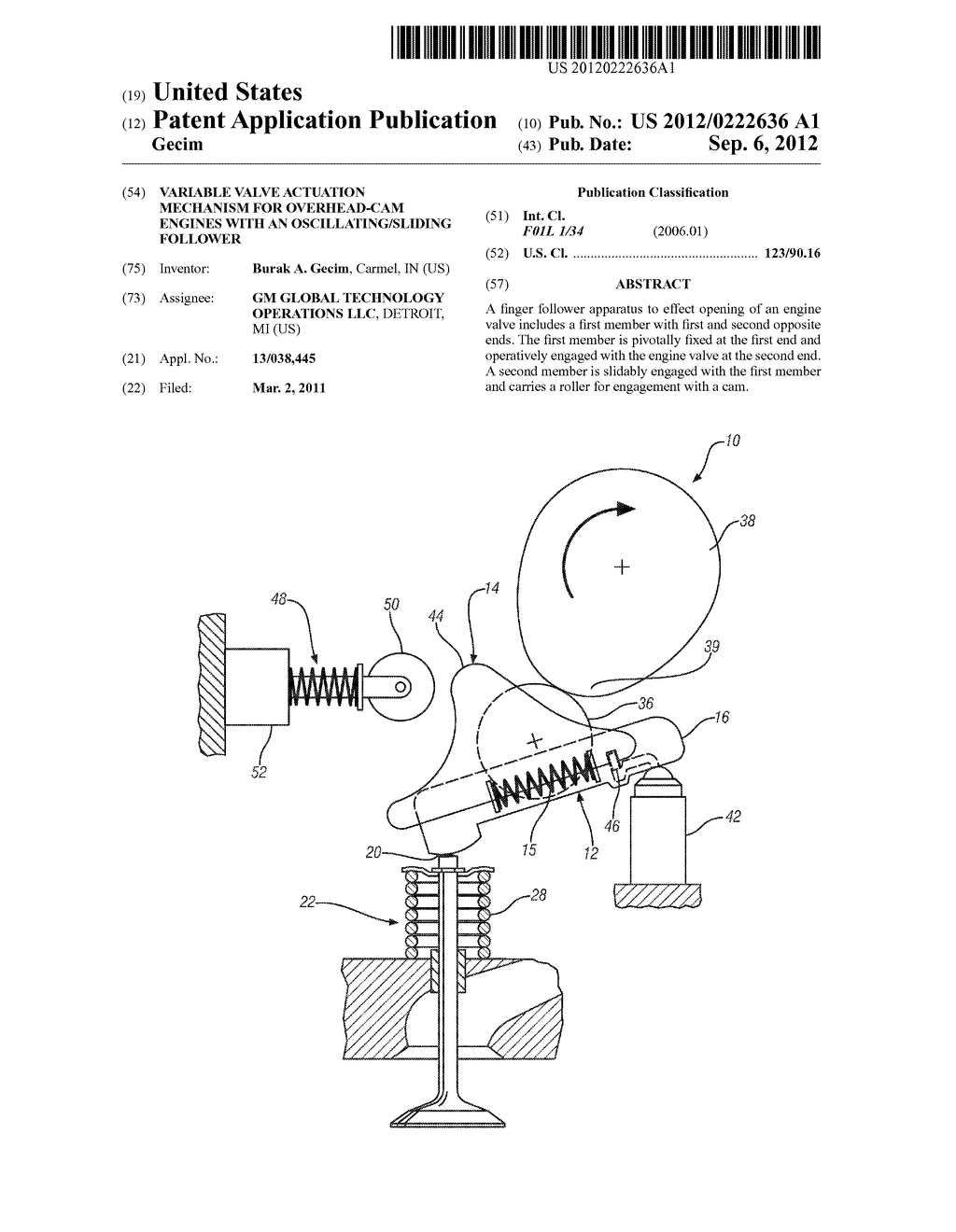 VARIABLE VALVE ACTUATION MECHANISM FOR OVERHEAD-CAM ENGINES WITH AN  OSCILLATING/SLIDING FOLLOWER - diagram, schematic, and image 01