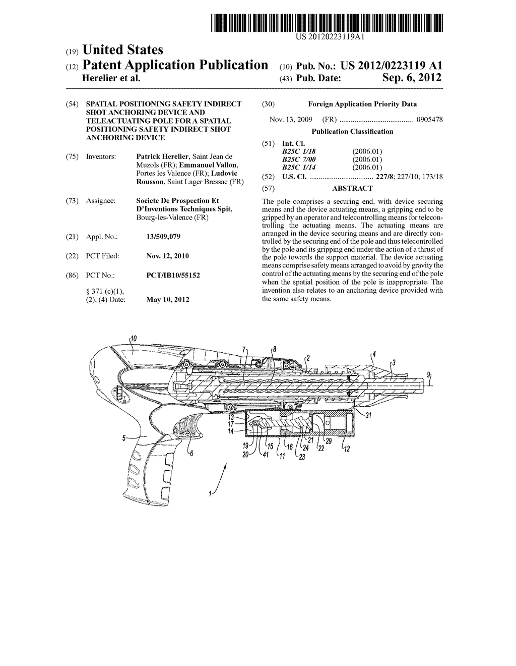 SPATIAL POSITIONING SAFETY INDIRECT SHOT ANCHORING DEVICE AND     TELEACTUATING POLE FOR A SPATIAL POSITIONING SAFETY INDIRECT SHOT     ANCHORING DEVICE - diagram, schematic, and image 01