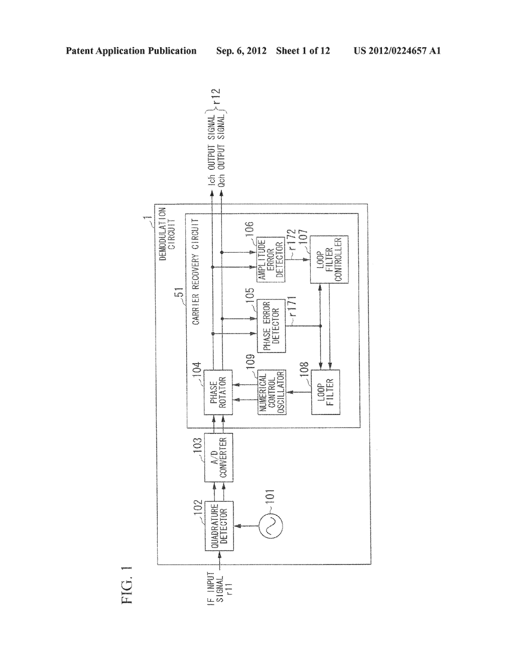 CARRIER RECOVERY CIRCUIT AND DEMODULATION CIRCUIT UNDER QUASI-COHERENT     DETECTION METHOD - diagram, schematic, and image 02