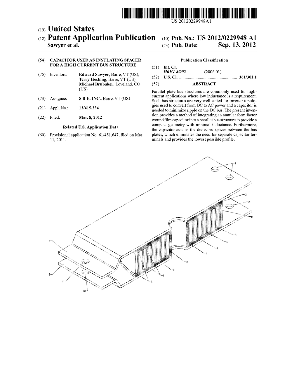 Capacitor Used as Insulating Spacer for a High Current Bus Structure - diagram, schematic, and image 01