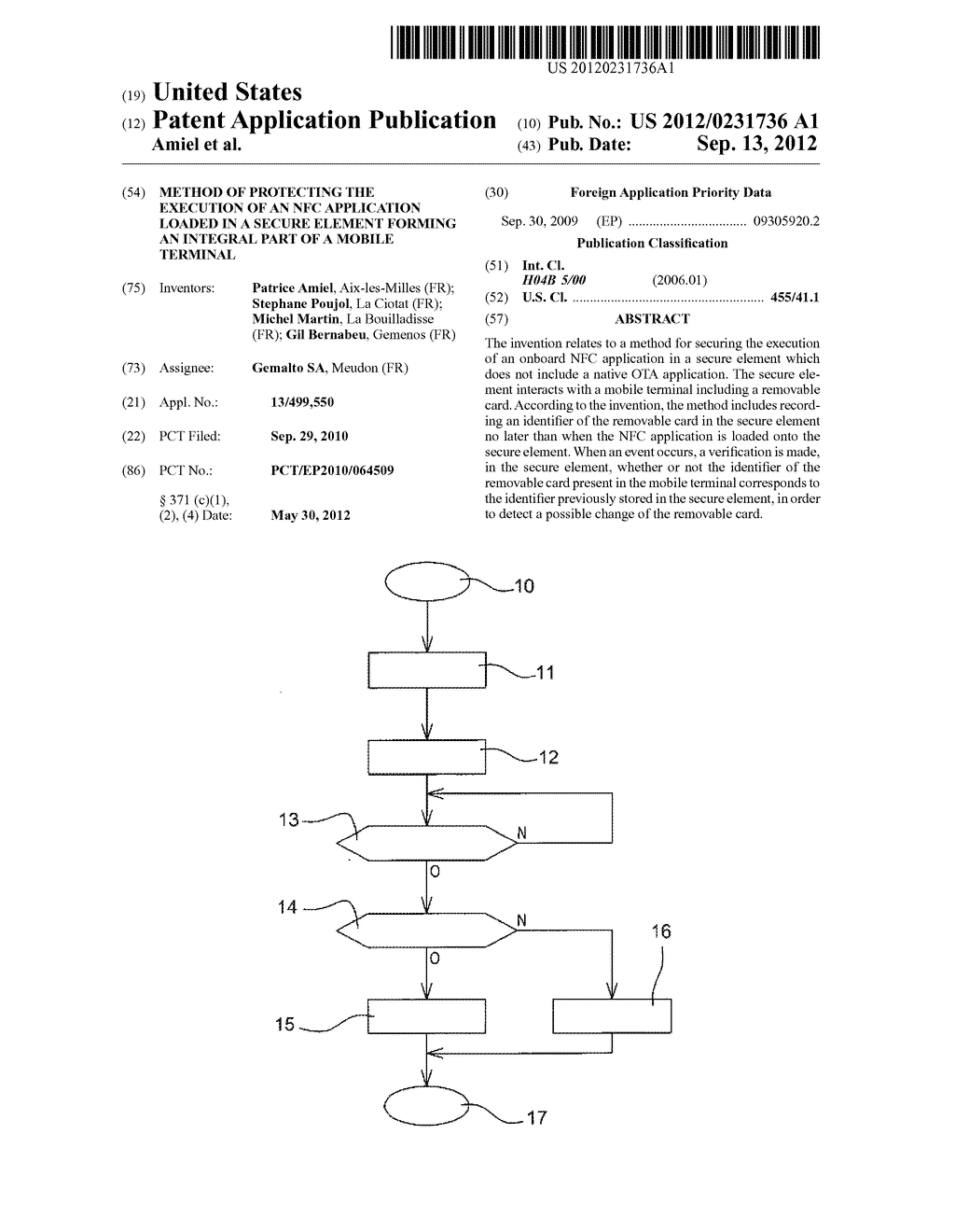 METHOD OF PROTECTING THE EXECUTION OF AN NFC APPLICATION LOADED IN A     SECURE ELEMENT FORMING AN INTEGRAL PART OF A MOBILE TERMINAL - diagram, schematic, and image 01