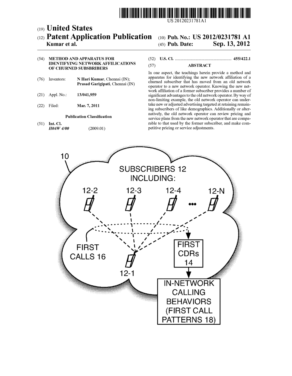 Method and Apparatus for Identifying Network Affilications of Churned     Subsbribers - diagram, schematic, and image 01