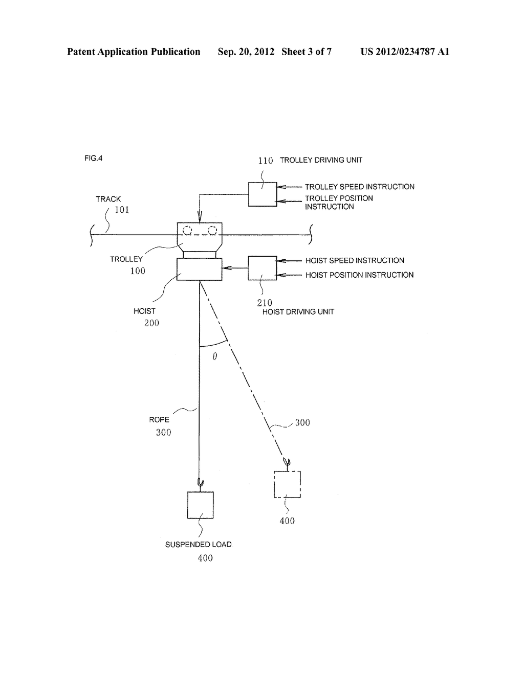 METHOD OF SWING STOPPING CONTROL AND SYSTEM OF SWING STOPPING CONTROL OF     SUSPENDED LOAD OF CRANE - diagram, schematic, and image 04