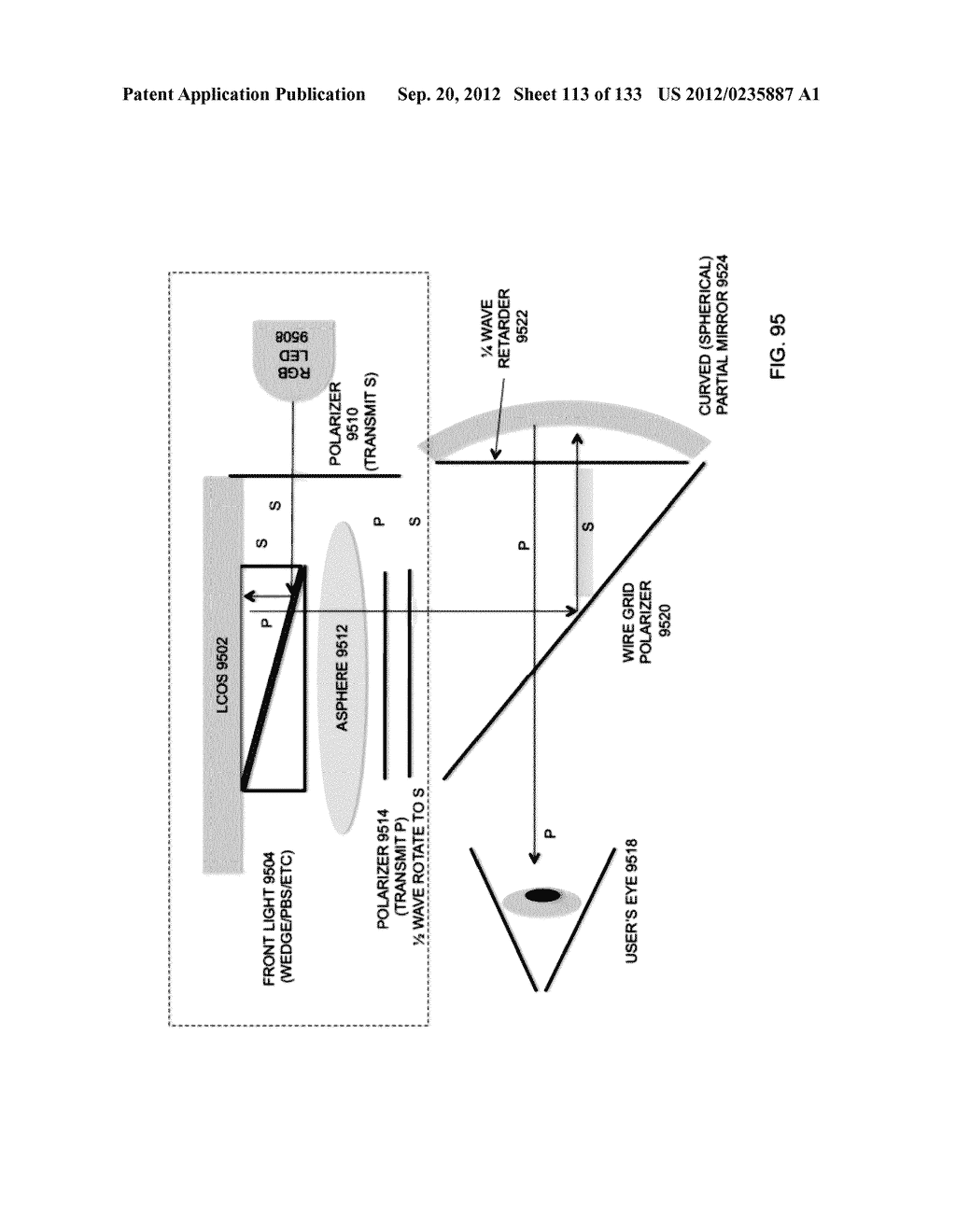SEE-THROUGH NEAR-EYE DISPLAY GLASSES INCLUDING A PARTIALLY REFLECTIVE,     PARTIALLY TRANSMITTING OPTICAL ELEMENT AND AN OPTICALLY FLAT FILM - diagram, schematic, and image 114