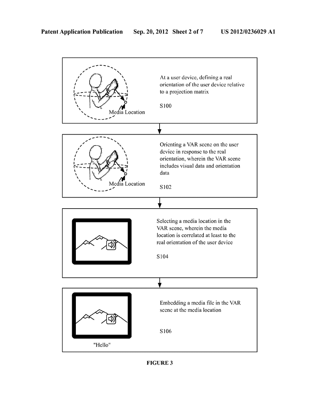SYSTEM AND METHOD FOR EMBEDDING AND VIEWING MEDIA FILES WITHIN A VIRTUAL     AND AUGMENTED REALITY SCENE - diagram, schematic, and image 03