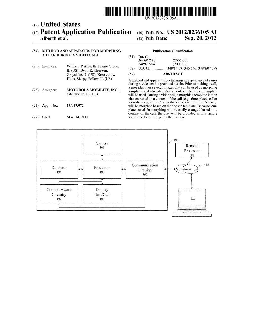 METHOD AND APPARATUS FOR MORPHING A USER DURING A VIDEO CALL - diagram, schematic, and image 01