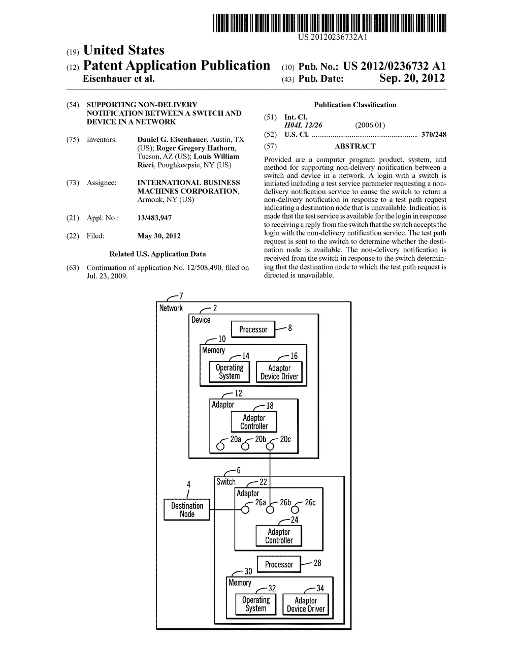 SUPPORTING NON-DELIVERY NOTIFICATION BETWEEN A SWITCH AND DEVICE IN A     NETWORK - diagram, schematic, and image 01