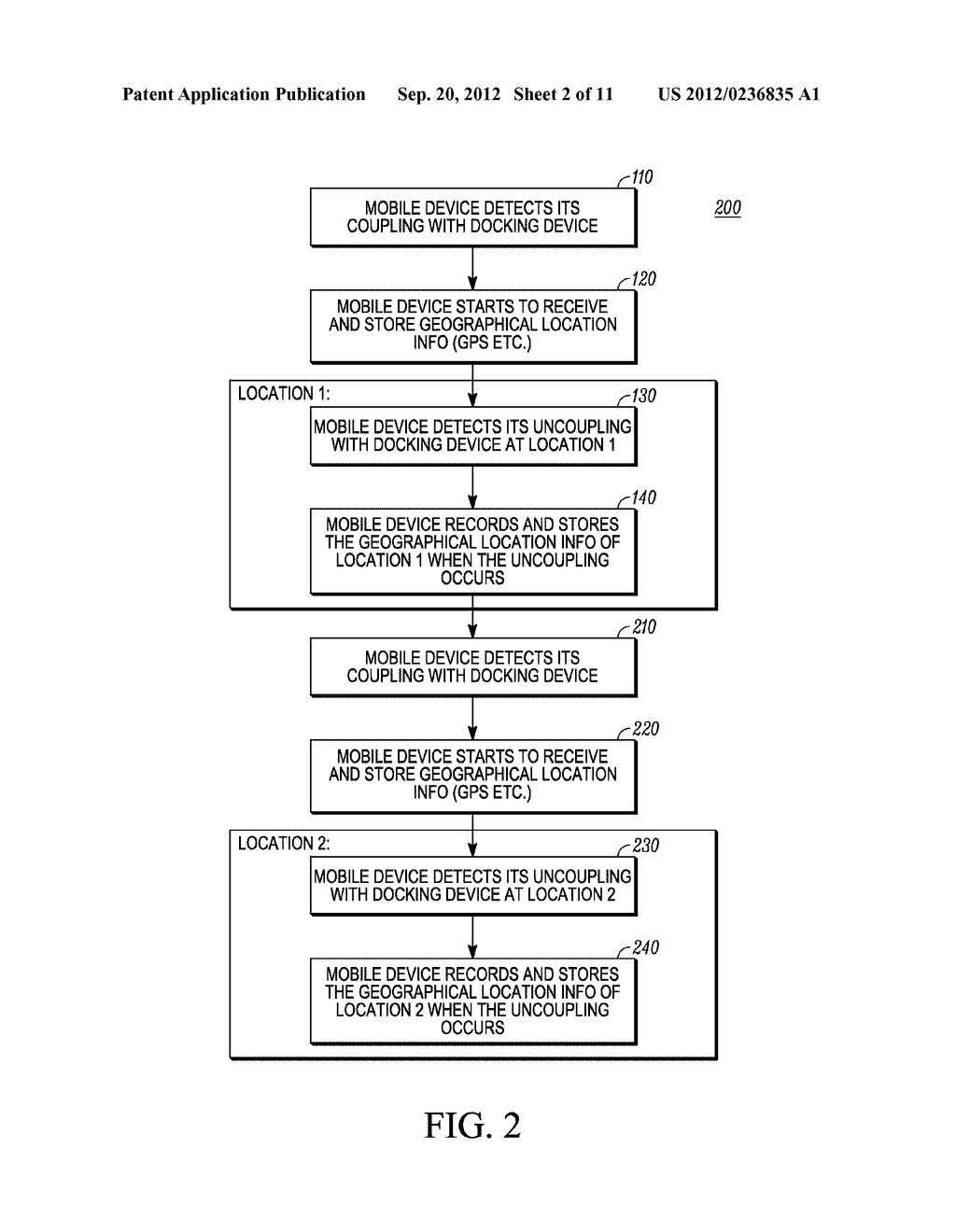 METHOD AND SYSTEM FOR RECORDING A GEOGRAPHICAL LOCATION FROM A MOBILE     COMMUNICATION DEVICE - diagram, schematic, and image 03