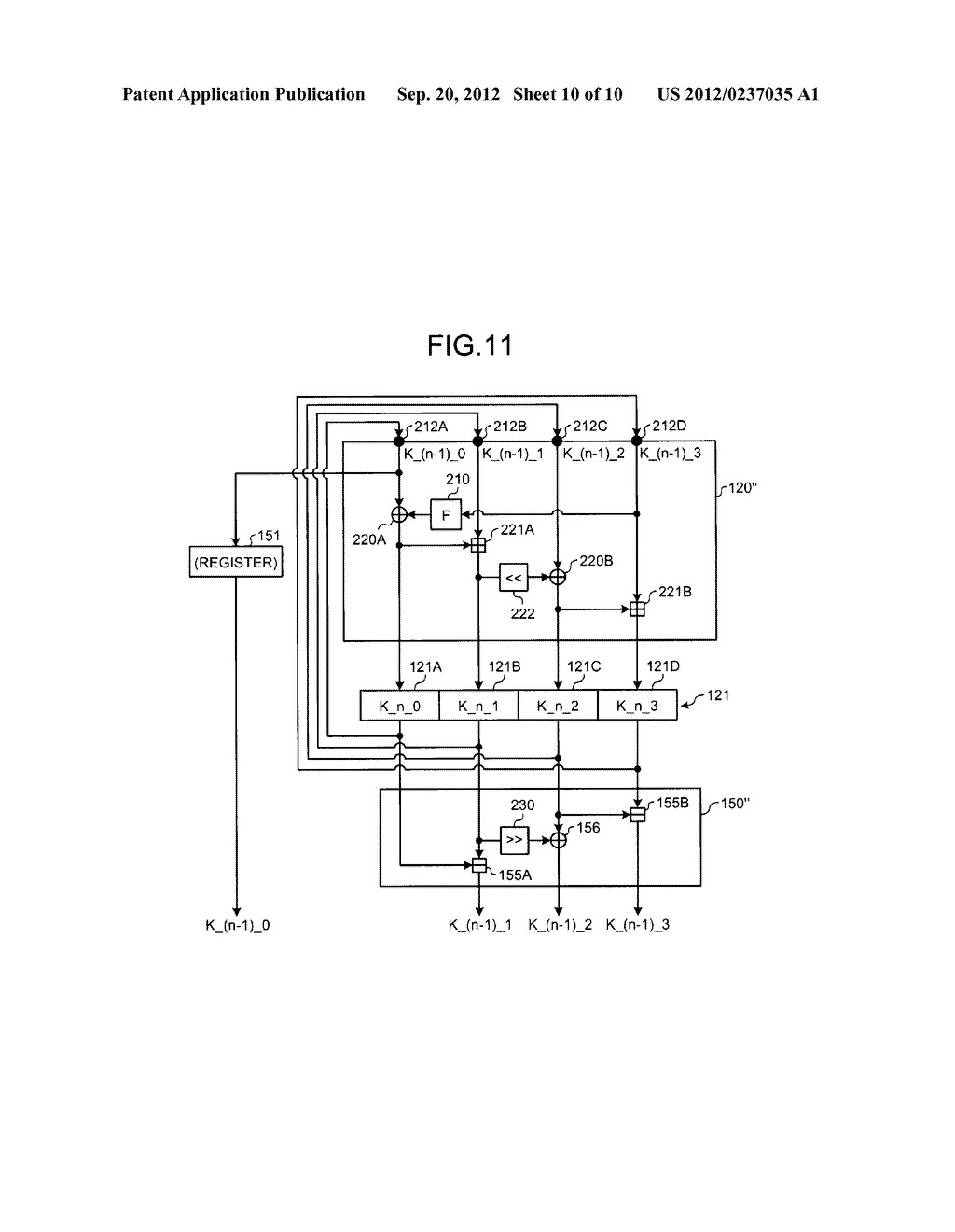 KEY SCHEDULING DEVICE AND KEY SCHEDULING METHOD - diagram, schematic, and image 11