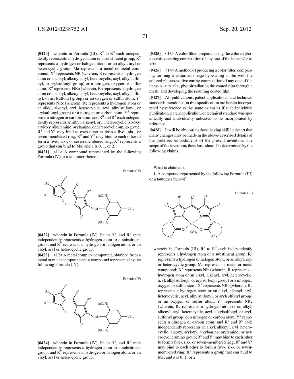 COMPOUND OR ITS TAUTOMER, METAL COMPLEX COMPOUND, COLORED PHOTOSENSITIVE     CURING COMPOSITION, COLOR FILTER, AND PRODUCTION - diagram, schematic, and image 72