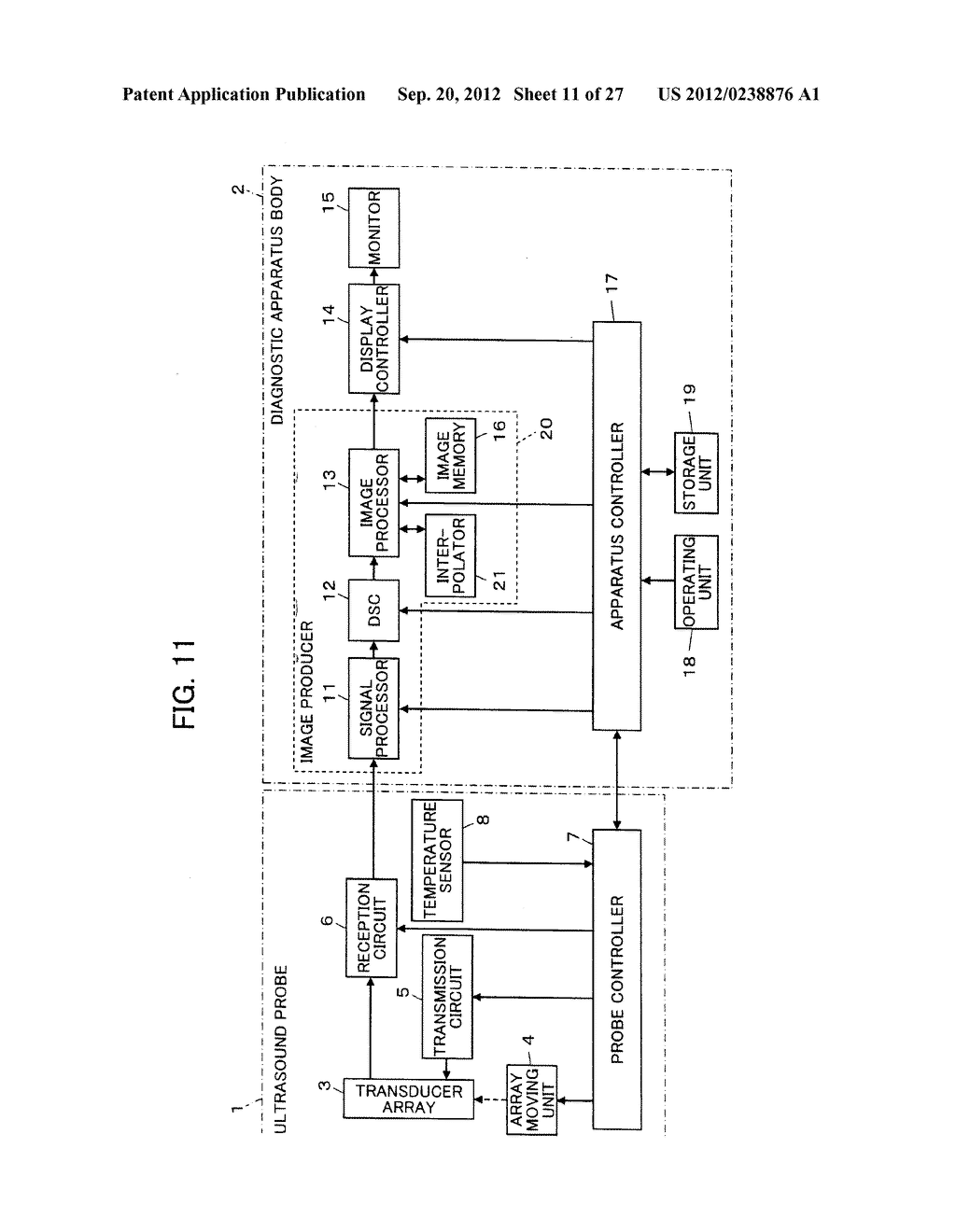 ULTRASOUND DIAGNOSTIC APPARATUS AND METHOD OF PRODUCING ULTRASOUND IMAGE - diagram, schematic, and image 12