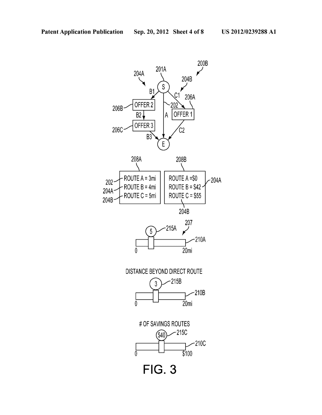 METHOD AND SYSTEM FOR GENERATING SAVINGS ROUTES WITH A PORTABLE COMPUTING     DEVICE - diagram, schematic, and image 05