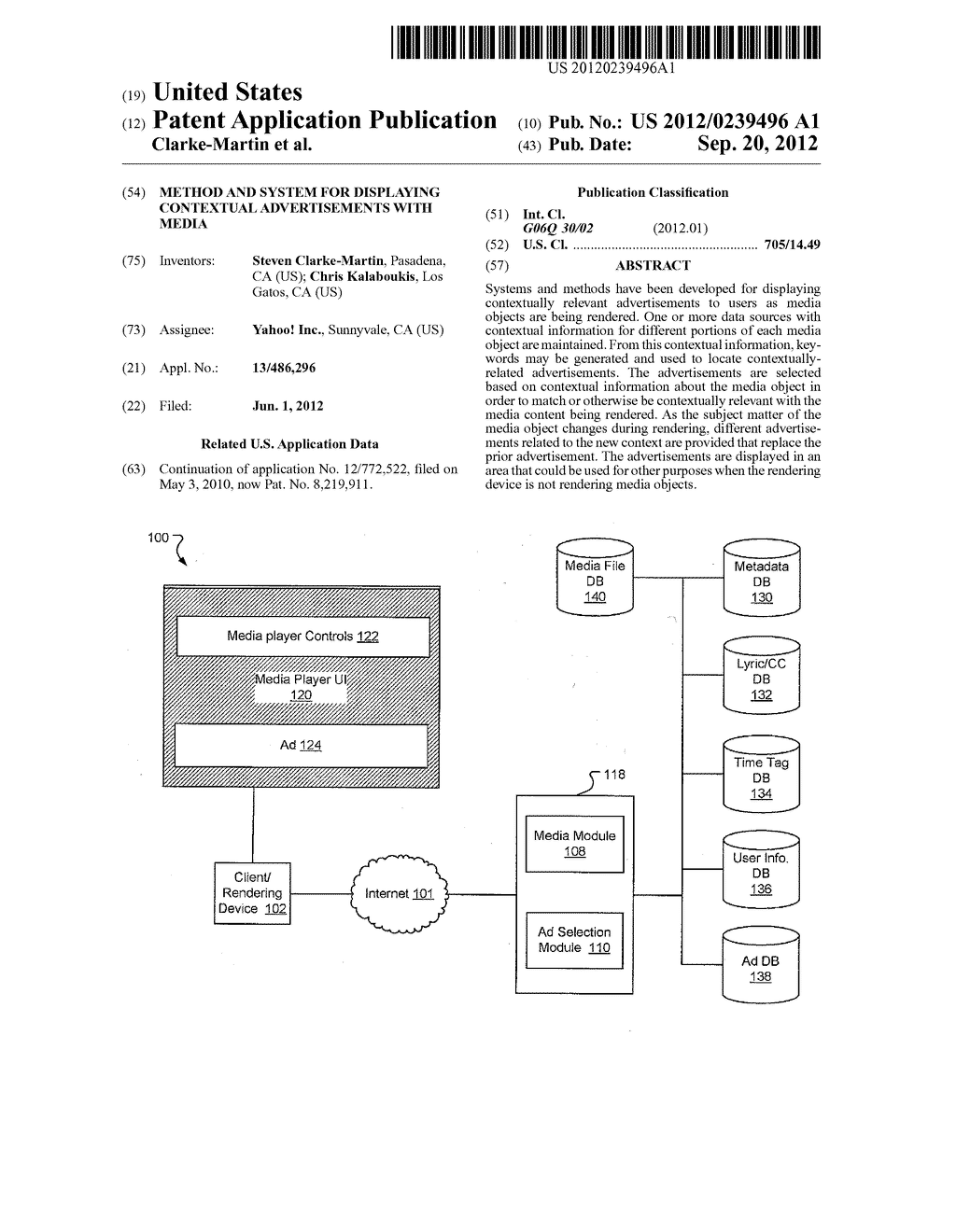 METHOD AND SYSTEM FOR DISPLAYING CONTEXTUAL ADVERTISEMENTS WITH MEDIA - diagram, schematic, and image 01