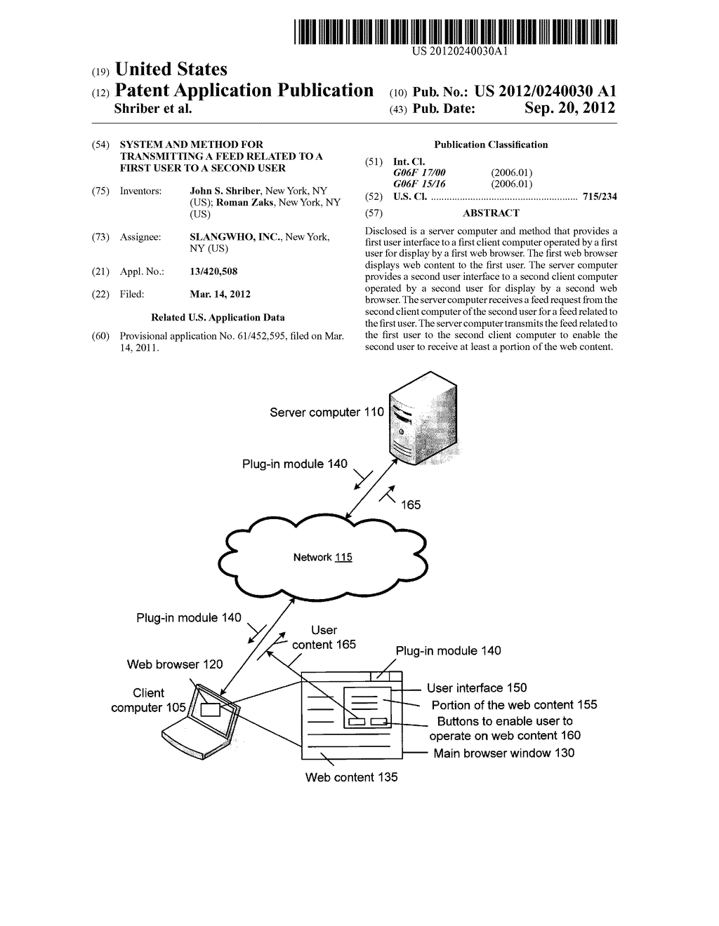 System and Method for Transmitting a Feed Related to a First User to a     Second User - diagram, schematic, and image 01