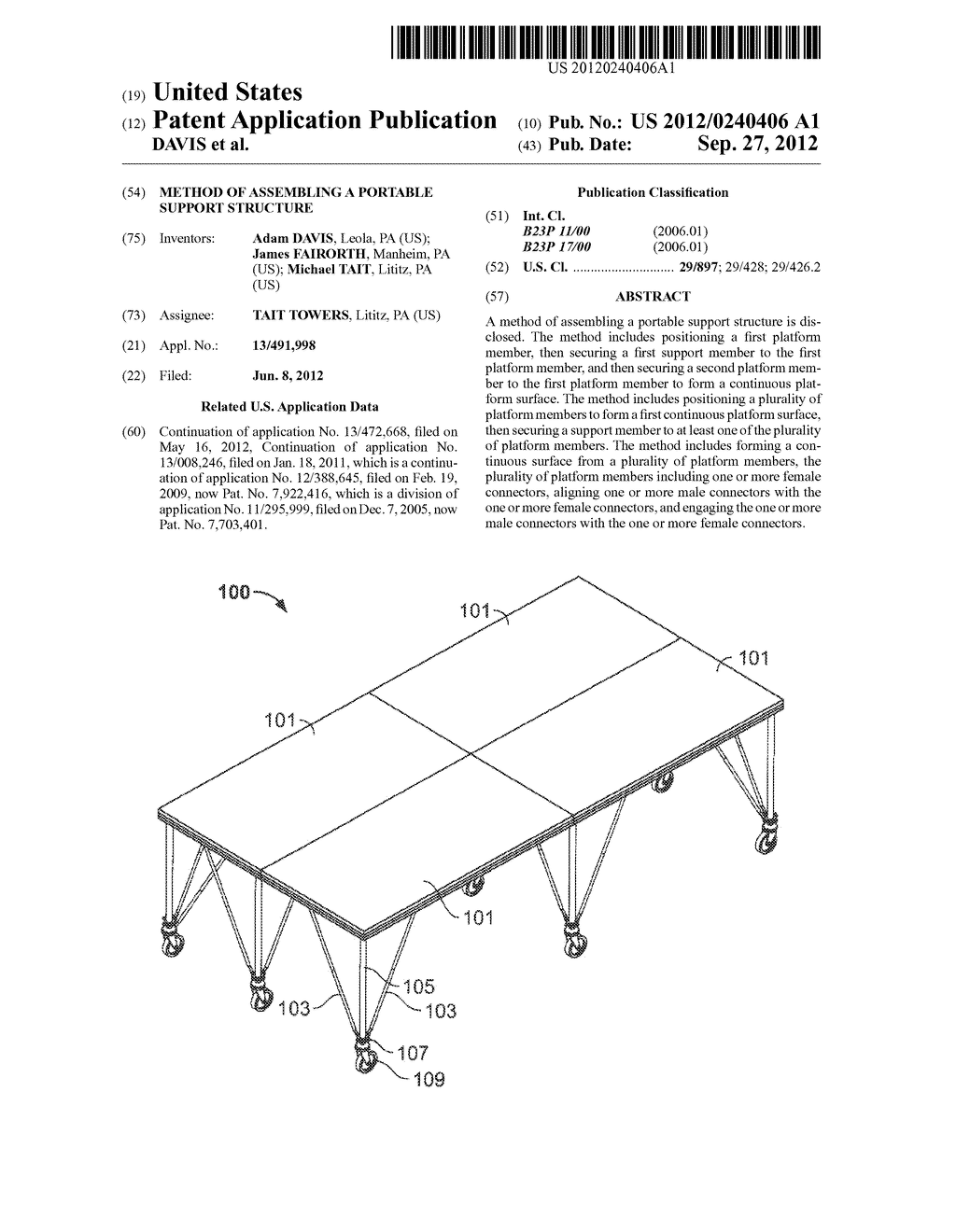 METHOD OF ASSEMBLING A PORTABLE SUPPORT STRUCTURE - diagram, schematic, and image 01