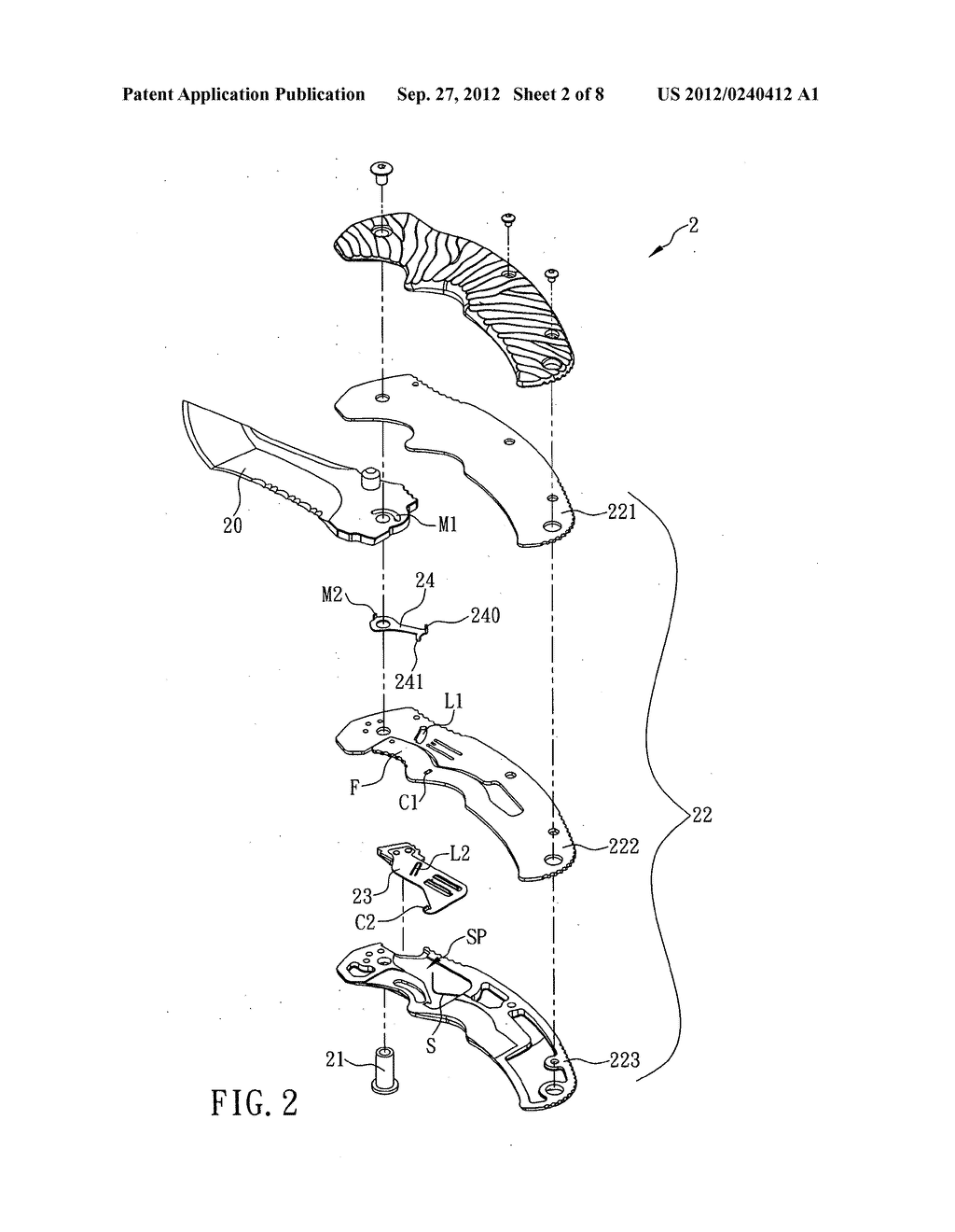Folding knife with two-stage lock release - diagram, schematic, and image 03