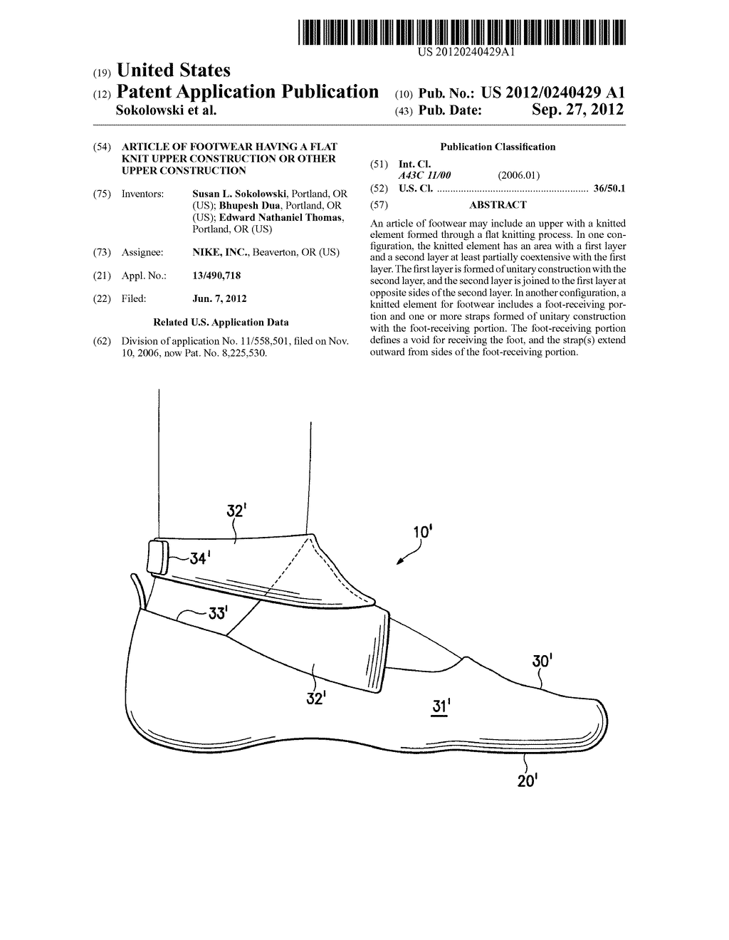 ARTICLE OF FOOTWEAR HAVING A FLAT KNIT UPPER CONSTRUCTION OR OTHER UPPER     CONSTRUCTION - diagram, schematic, and image 01
